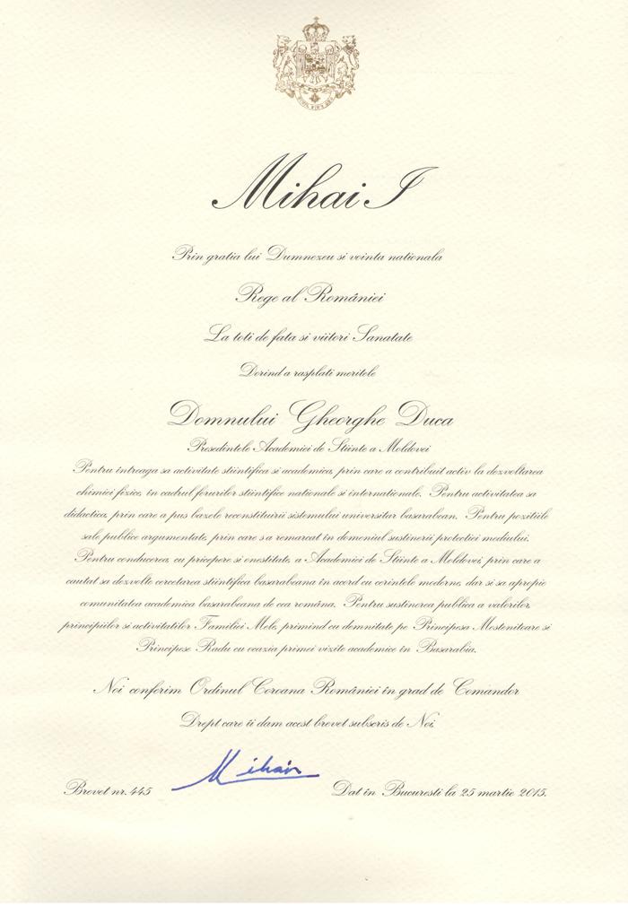 Brevet 445-Ordinul Coroana Romaniei-grad Comandor pt acad Gh. Duca-25-03-2015-700px