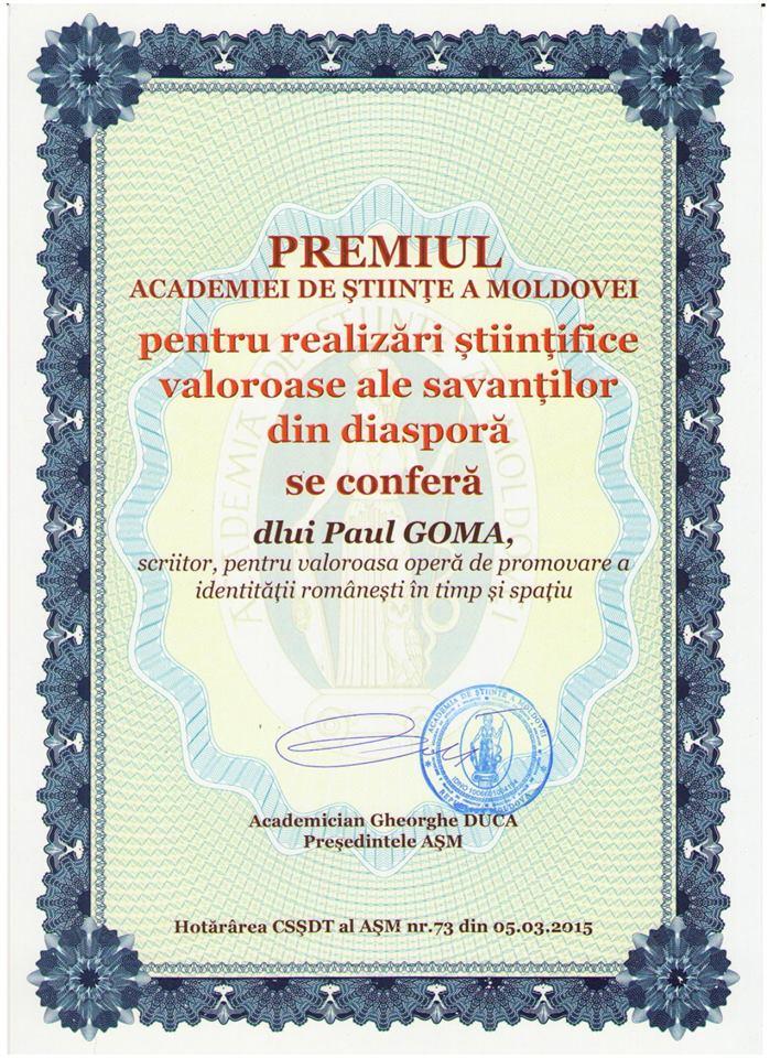 Premiul ASM pentru Paul Goma