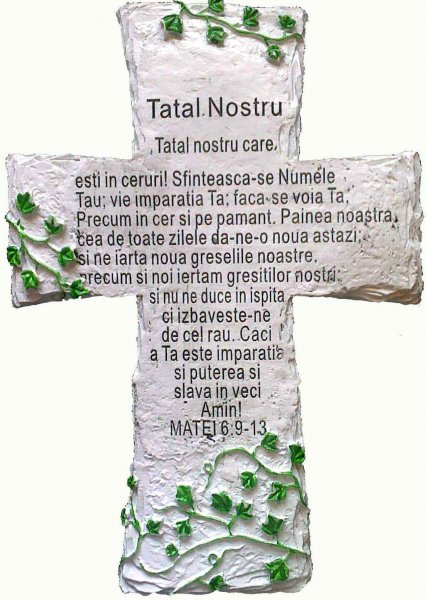 Rugaciunea Tatal Nostru inscriptionata pe cruce de piatra