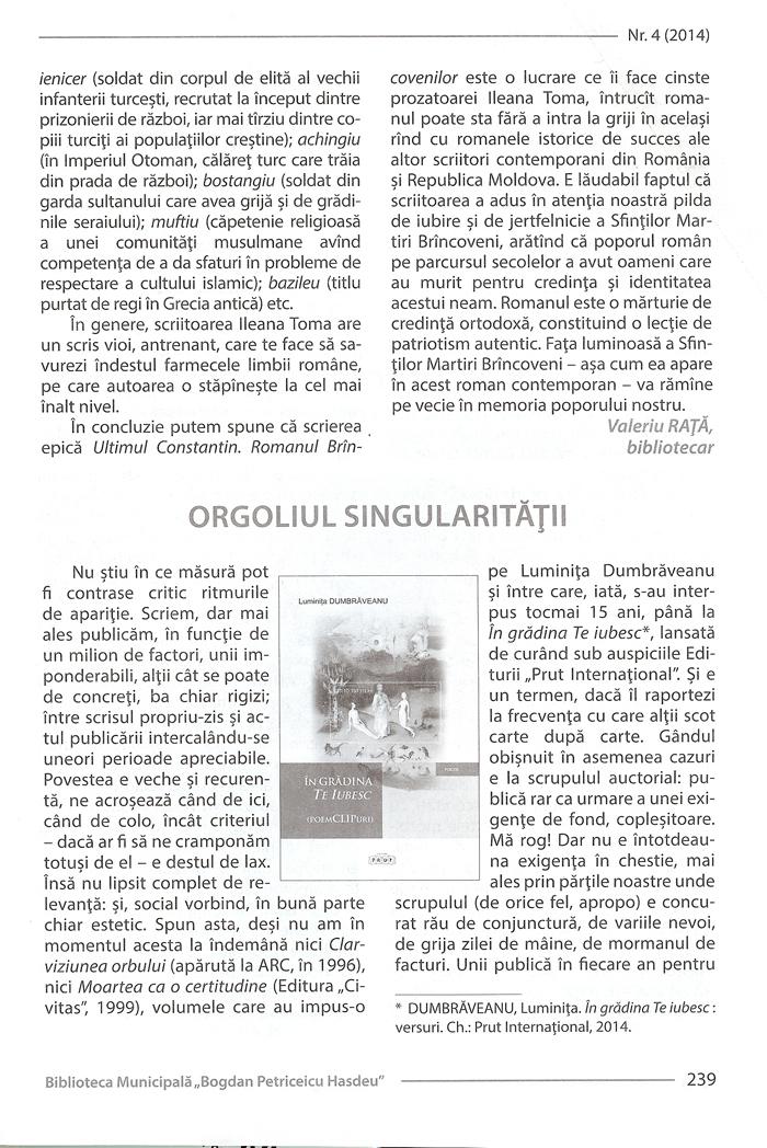 Revista BiblioPolis nr4-2014-Cronica Ghenadie Nicu cartea Luminita D-pag 1-700px