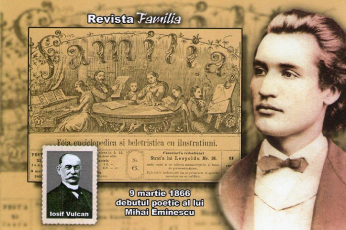 Eminescu--Revista Familia Iosif Vulcan debut-9 martie 1966-colaj-731px