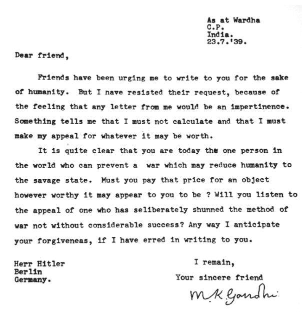 Mahatma-Gandhi-Scrisoare lui Adolf-Hitler