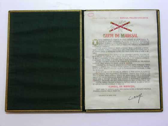 Maresal-carte de maresal a lui Constantin Prezan