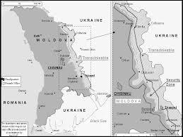 Harata Moldova-cu zona separatista Transnistria alb-negru