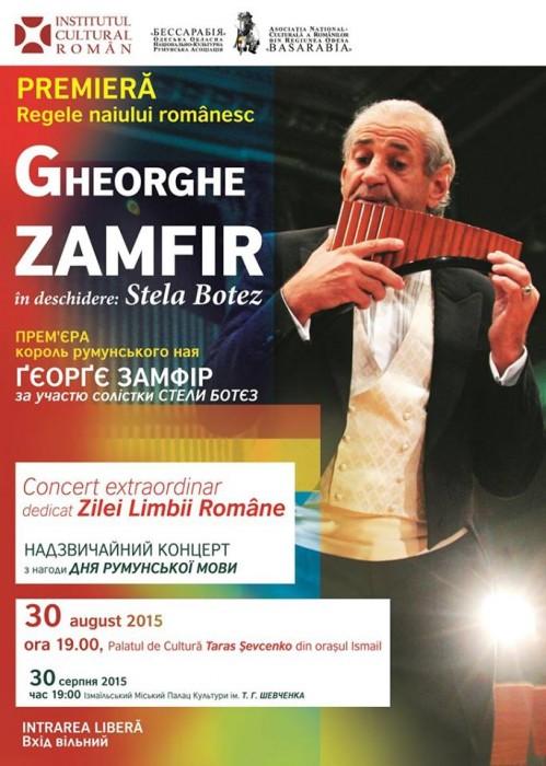 Gheorghe Zamfir va canta la Ismail si Cahul-Afish-30 august 2015