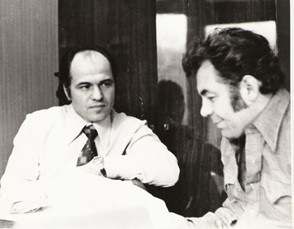 Eugen Doga si Emil Loteanu discuta un scenariu de film-420px