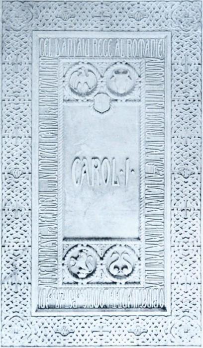 Placa de marmura de pe mormantul Regelui Carol I in Episcopia Curtii de Arges-Historia-ro-600px