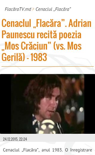 6-FlacaraTV-md pe tel mobil-Paunescu-titlu-din 25-12-2015