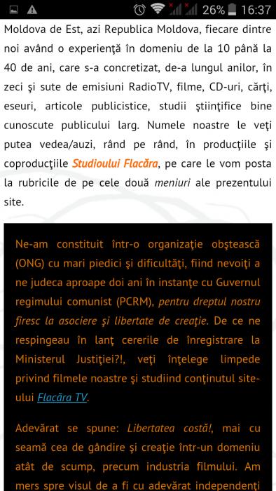 FlacaraTV-md pe tel mobil-text pagina statica Despre noi-din 25-12- 2015
