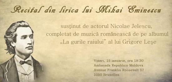 Eminescu omagiat la Bruxelles de Nicolae Jelescu si Grigore Lese-550pz
