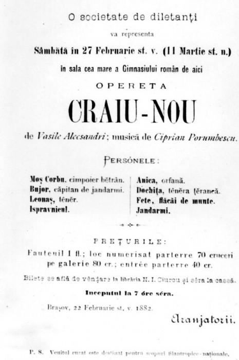 Ciprian Porumbescu-opereta Crai Nou-AFISH de epoca-27-02-1882-600px