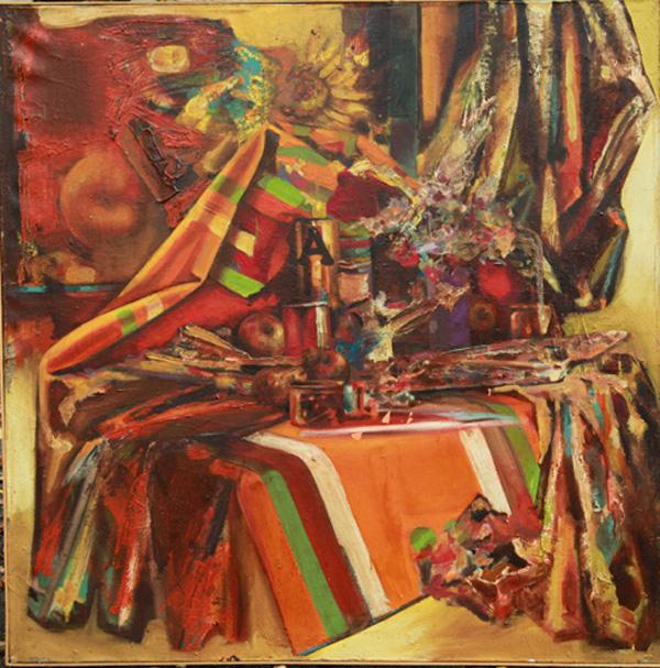 Andrei Sarbu-Floarea Soarelui in atelier-1974-1977-600px
