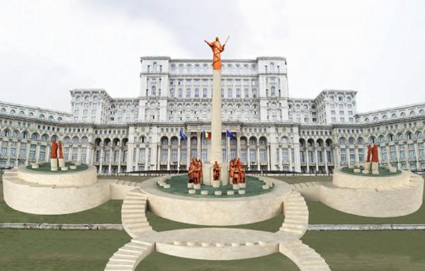 Deceneu si Dacii-proiect monument Bucuresti-600px