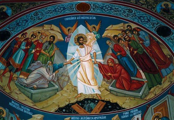 Iisus Hristos-Sambata Mare-Pogorarea la iad-pictura murala-600px