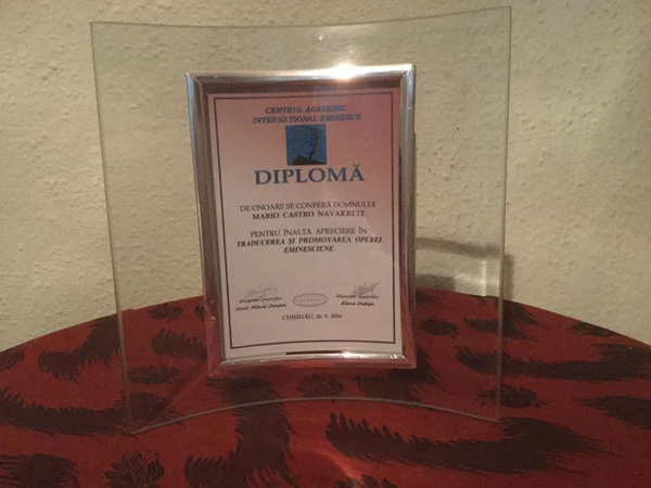 Lansare carte Eminescu in spaniola-Diploma din partea Centrului Acad Eminescu-600px