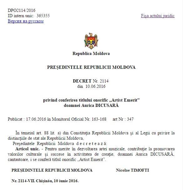 Basarabeanca Artista Emerita-Decret Nicolae Timfotri-10 iunie 2016