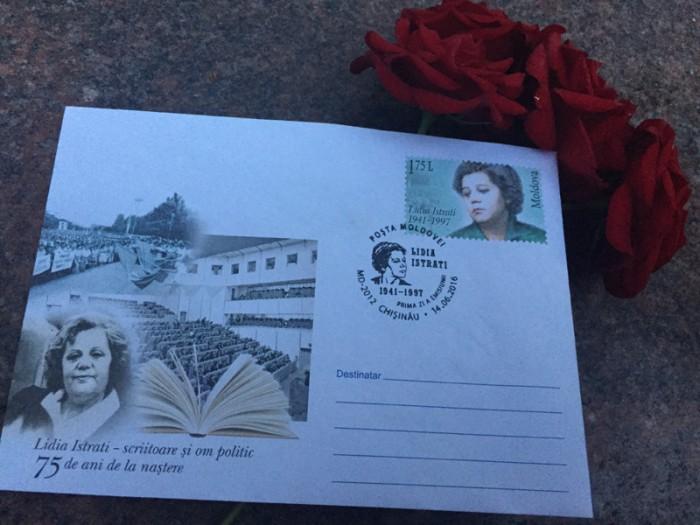 Lidia Istrati-timbru postal si plic Posta Moldovei-flori-14 iunie 2016-IMG_3001-800px