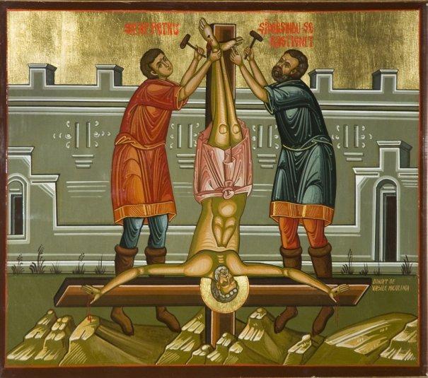 Sf Apostol Petru rastignit pe cruce