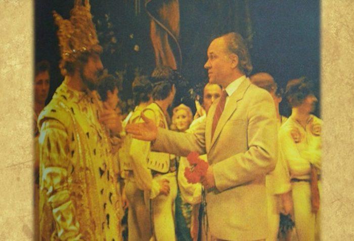 Eugen Doga dupa premiera baletului Luceafarul-Chjisinau-captura Flacara Film-6 iunie 21983