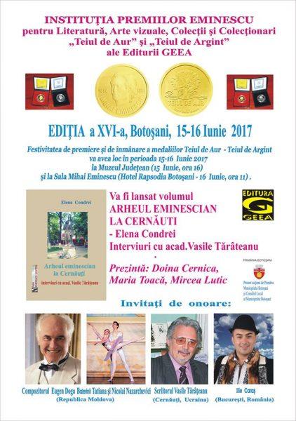 Eminescu-Teiul de Aur 2017-Botosani-Afis