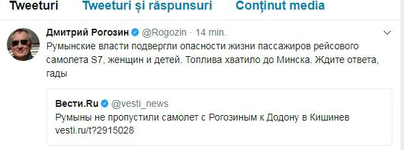 Rogozin ameninta Romania pe twitter-trm-md