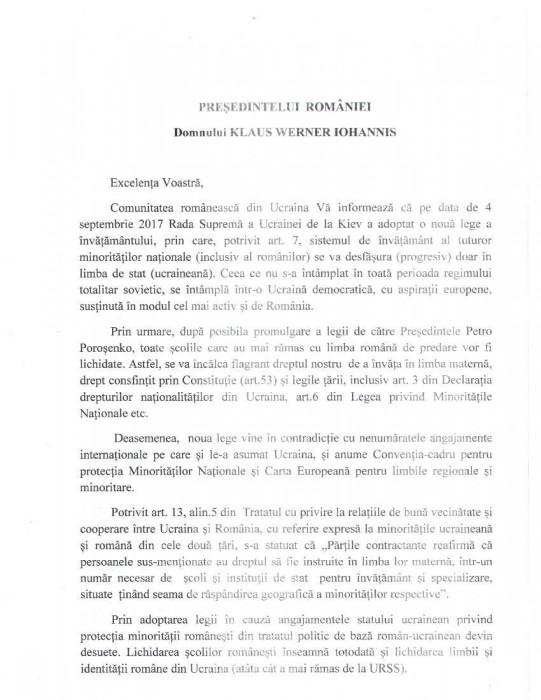 Cernauti Doc 1 Scrisoarea romanilor catre Presedintele Romaniei