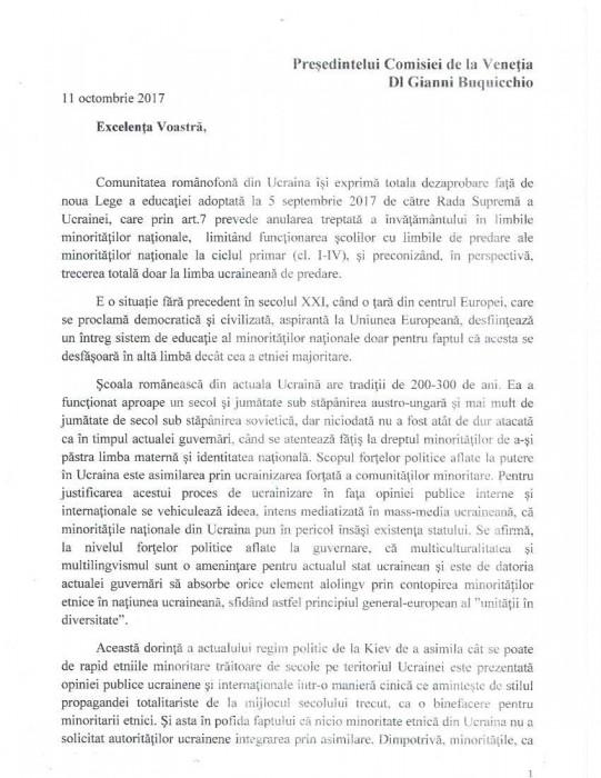 Cernauti Memoriu Comisiei de la Venetia-14.10.1