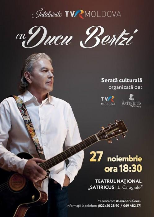 Ducu Bertzi la Chisinau- Intilnirile TVR Moldova-poster mare-27 nov 2017