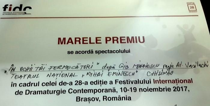 FIDC Brasov-Dioloma Marele Premiu pt Teatrul EMINESCU Chisinau 19 nov 2017