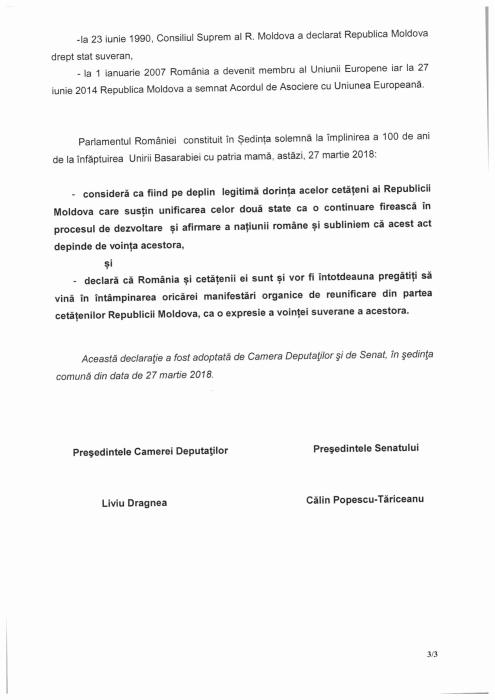 Parlamentul Romaniei 3-Declaratia de Unire cu Basarabia-27-03-2018