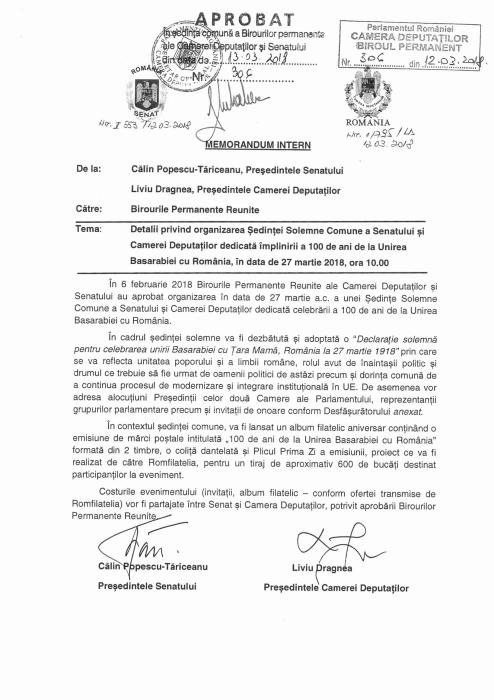 Parlamentul Romaniei 4-Declaratia de Unire cu Basarabia-27-03-2018