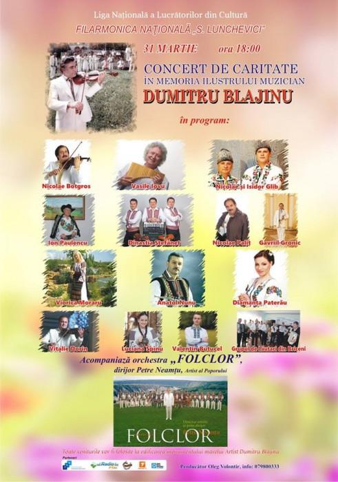 Dumitru Blajinu concert d ecaritate-AFISH-31 martie 2018
